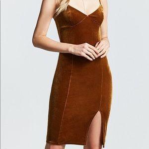 NWOT Brown Velvet Cami Dress